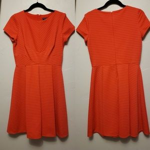 Bright Peach Red Fit and Flare Pleated Day Dress